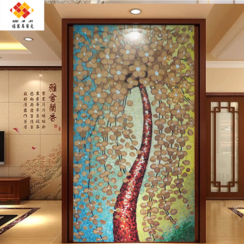 Xi mu happy tree pachira mosaic crystal glass mosaic tile puzzle tv backdrop
