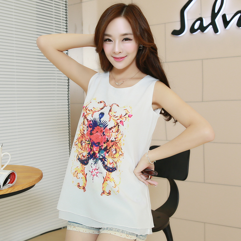 Xi sub 2015 summer new korean chiffon shirt without sleeves loose round neck printed chiffon blouse chiffon shirt vest female
