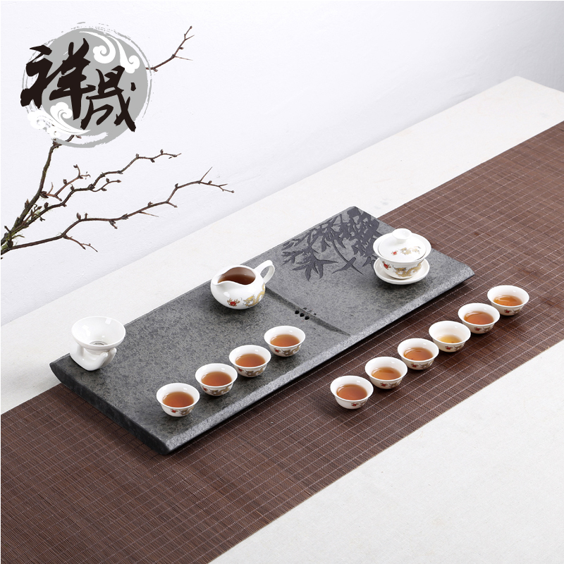 Xiang sheng natural black stone tea tray kit inblock niello large stone tea sets tea sea drainage decoration