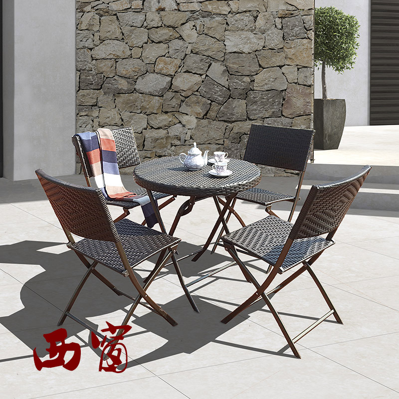 Xichuang patio chairs and coffee tables and chairs folding tables and chairs rattan outdoor garden terrace suite coffee table furniture