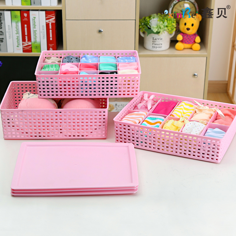 Xin bei thick imitation rattan three sets of underwear storage box covered plastic storage box bra underwear pants socks finishing storage box