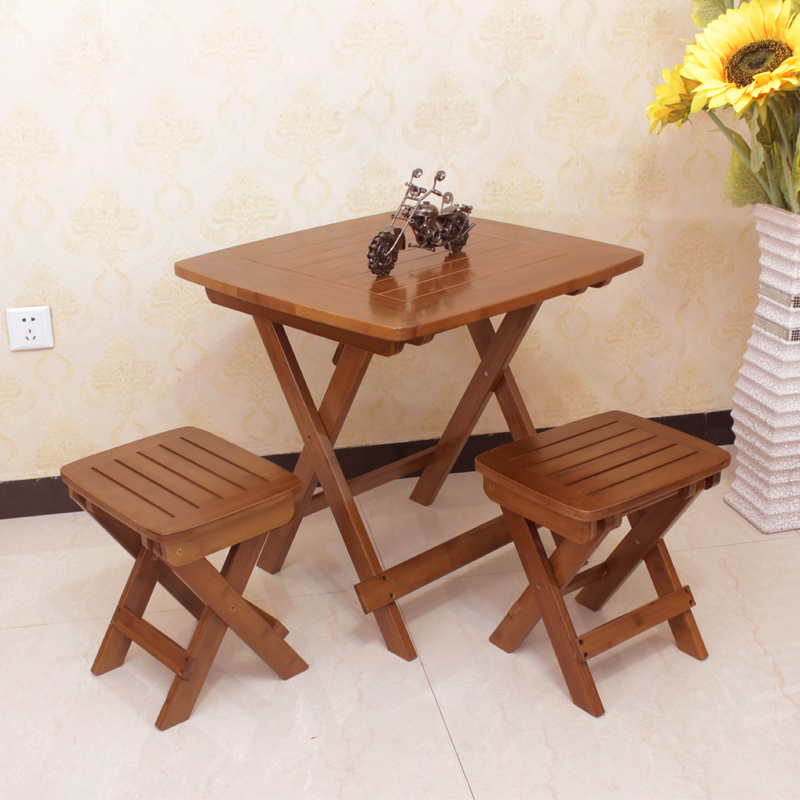Xin kai source of bamboo folding table square table portable folding table leisure table simple square table folding table dinner table