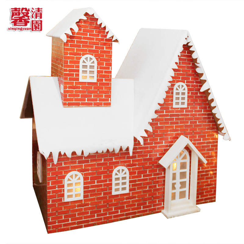 Xin qing yuan house christmas decorations christmas snow snow snow house style christmas tree ornaments scene layout