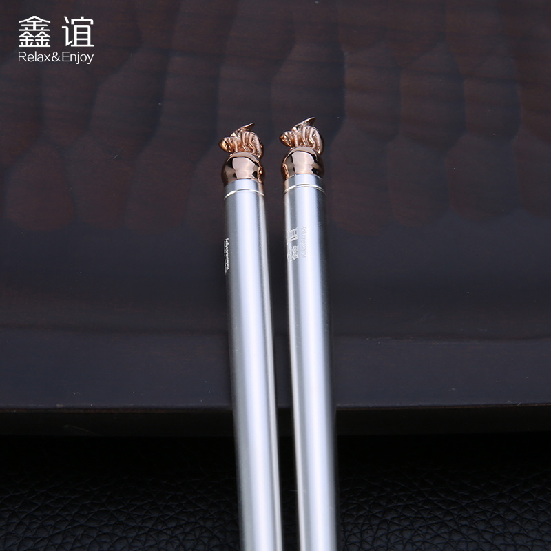 Xin yi bee round stainless steel silver plated 999 silver chopsticks silver cutlery silver chopsticks business gifts to share