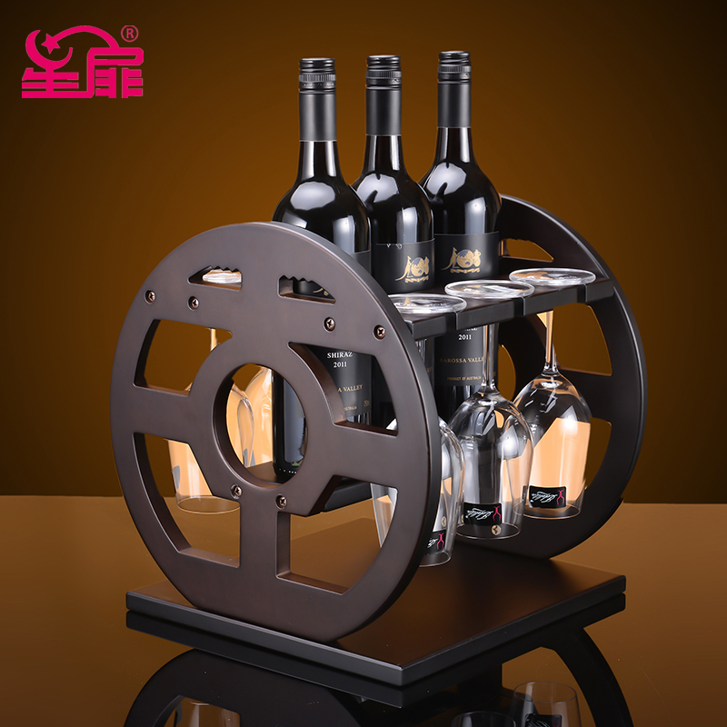 Xing fei wine european creative wine rack wine rack wood wine rack wooden wine rack hanging marriage home decoration
