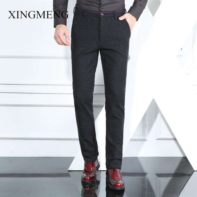 Xing meng 2016 autumn and winter casual pants male korean slim pants micro bomb brushed waist straight business casual trousers