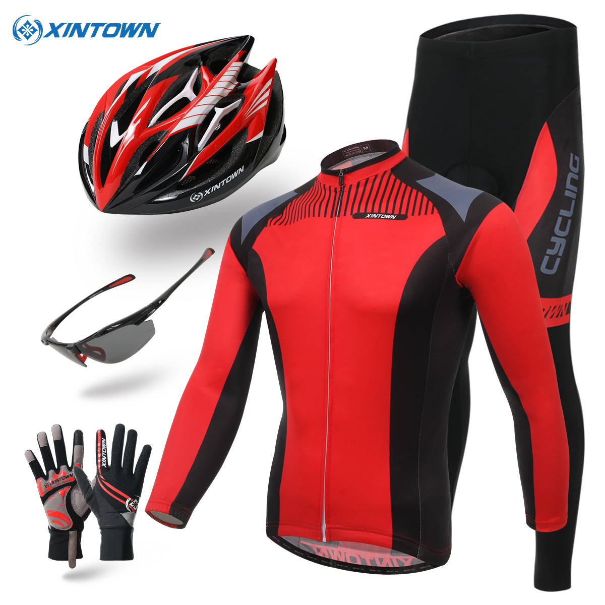 Xintown bike in autumn and winter thick warm fleece long sleeve jersey suit mountain bike riding pants