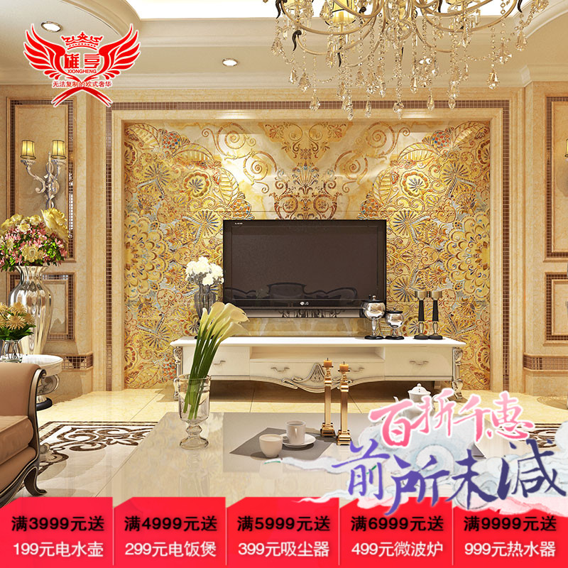 Xiong hang 3d tv backdrop tile european modern minimalist living room entrance carved marble painting ka xila