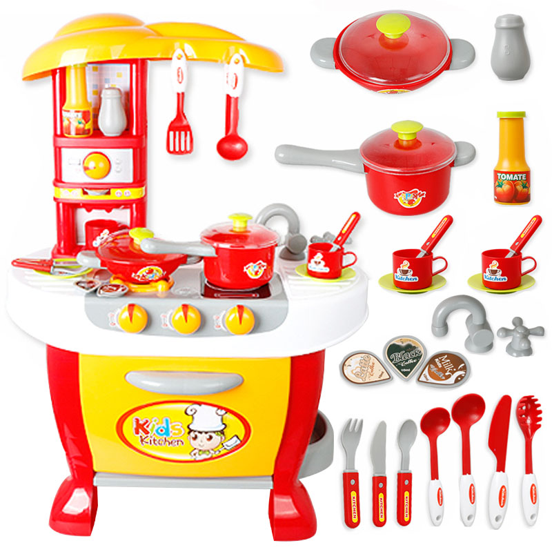 Xiongcheng children play house toys suit smart touch kitchen girl toy play house kitchen cooking toys
