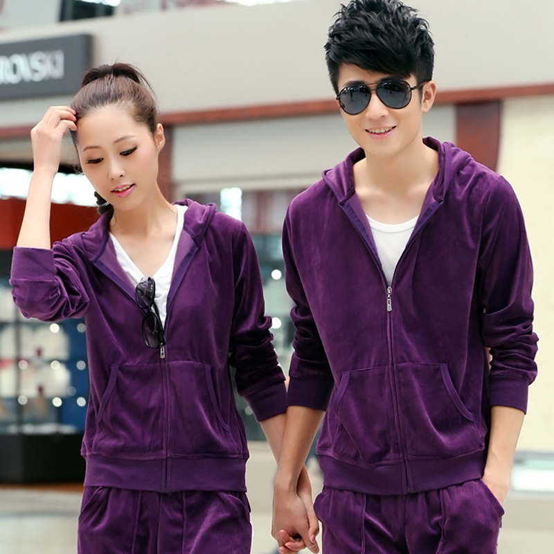 Xl velvet spring and autumn breathable sports suits for men and women casual cardigan hooded kangaroo pocket lovers