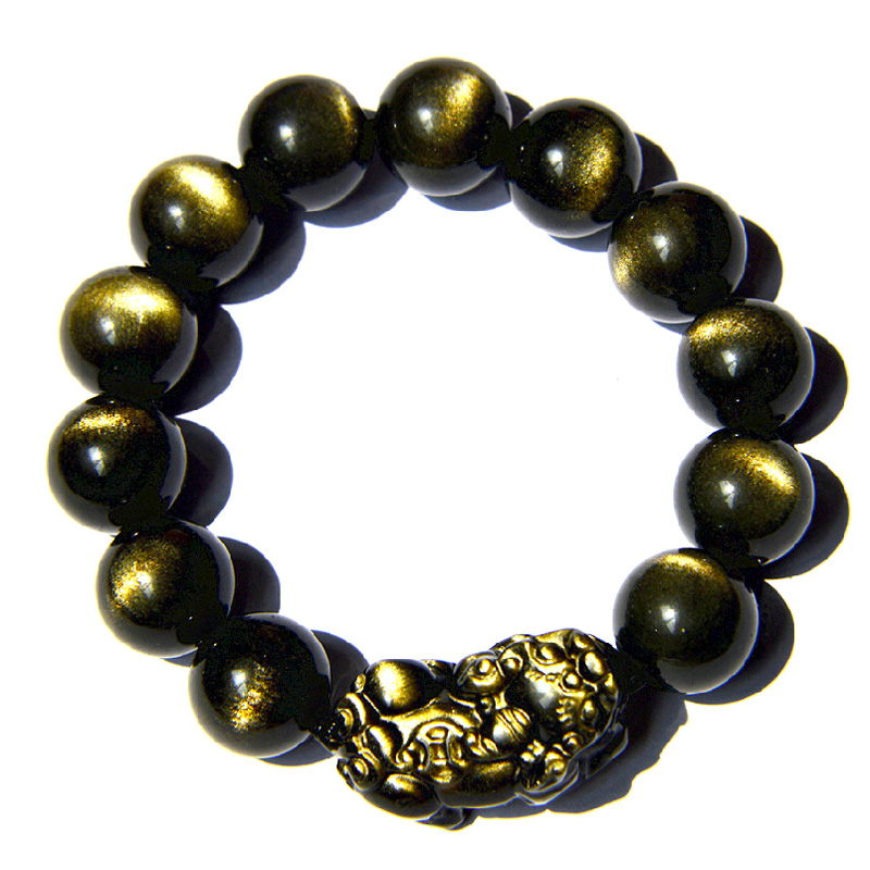 Xu zhen opening of natural gold obsidian obsidian brave brave bracelet obsidian eyes natural crystal jewelry for men and women