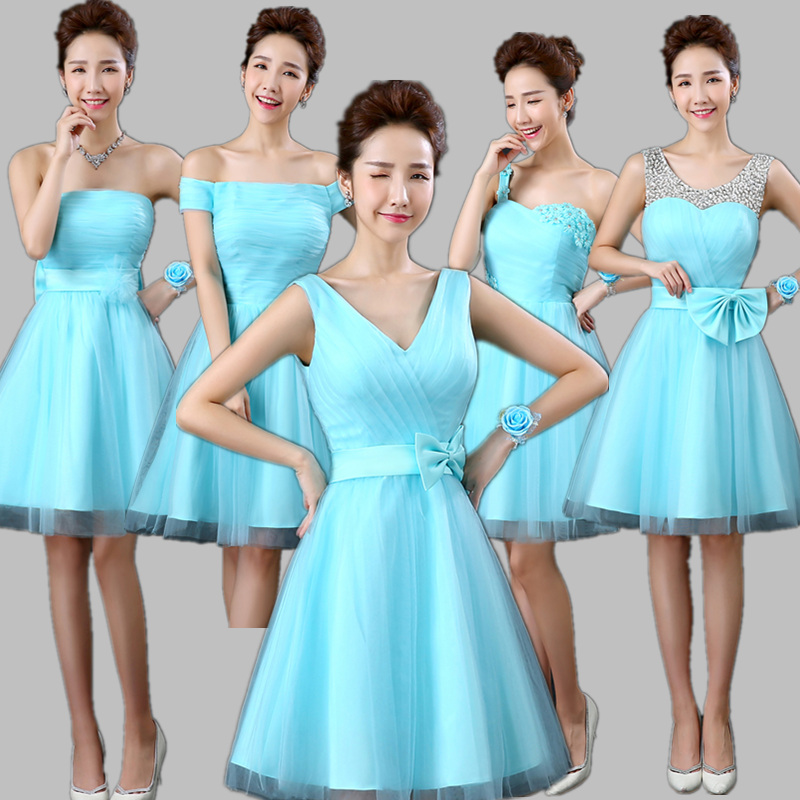 Xuan bride bridesmaid dress short paragraph 2016 new bridesmaid dress small evening dress spring and summer dress bridesmaid dress sister skirt bi industry