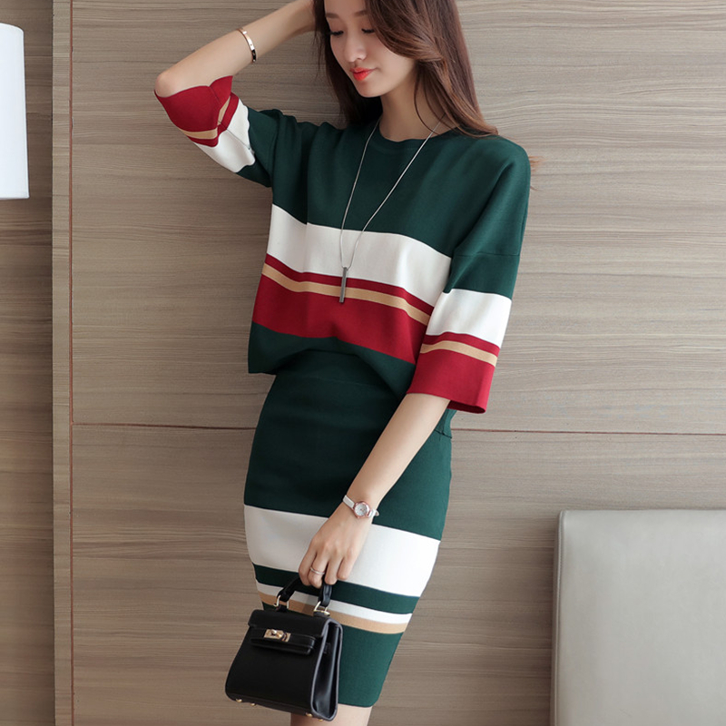 Xuan xuan color 2016 autumn new korean wild striped suit slim package hip striped knit sweater coat women