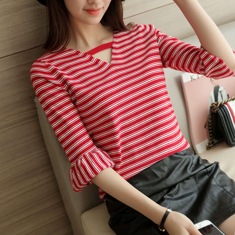 Xuan xuan color knit pullover sweater 2016 autumn new korean version of the v-neck flouncing wild blouses