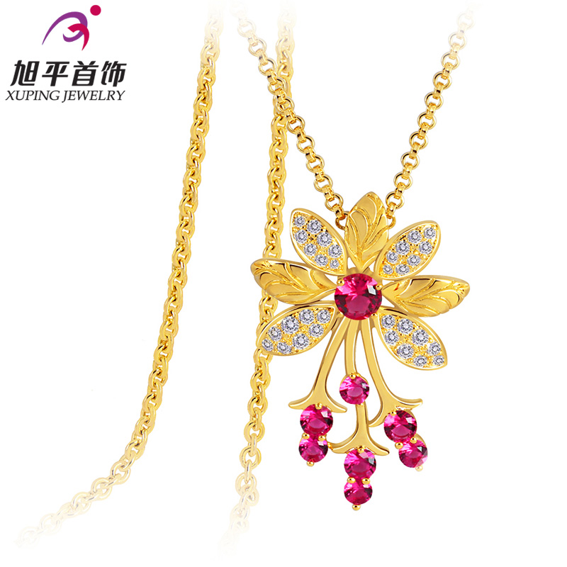 Xuping genuine japan and south korea rose gold plated long necklace sweater chain female korean fashion flowers costumes new