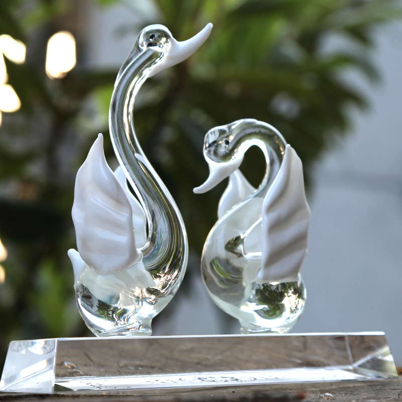 Xz bainianhaoge swan crystal ornaments crafts home decoration wedding gift ideas to send to friends gifts