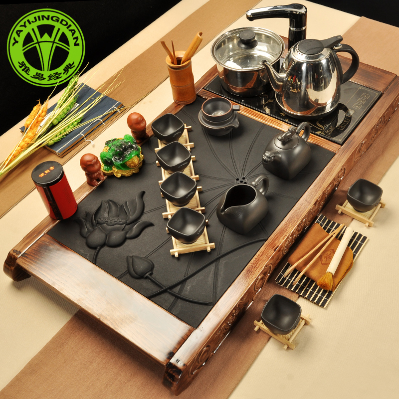 Ya classic package four wood tea tray cooker set new ugyen wood burning stone combination