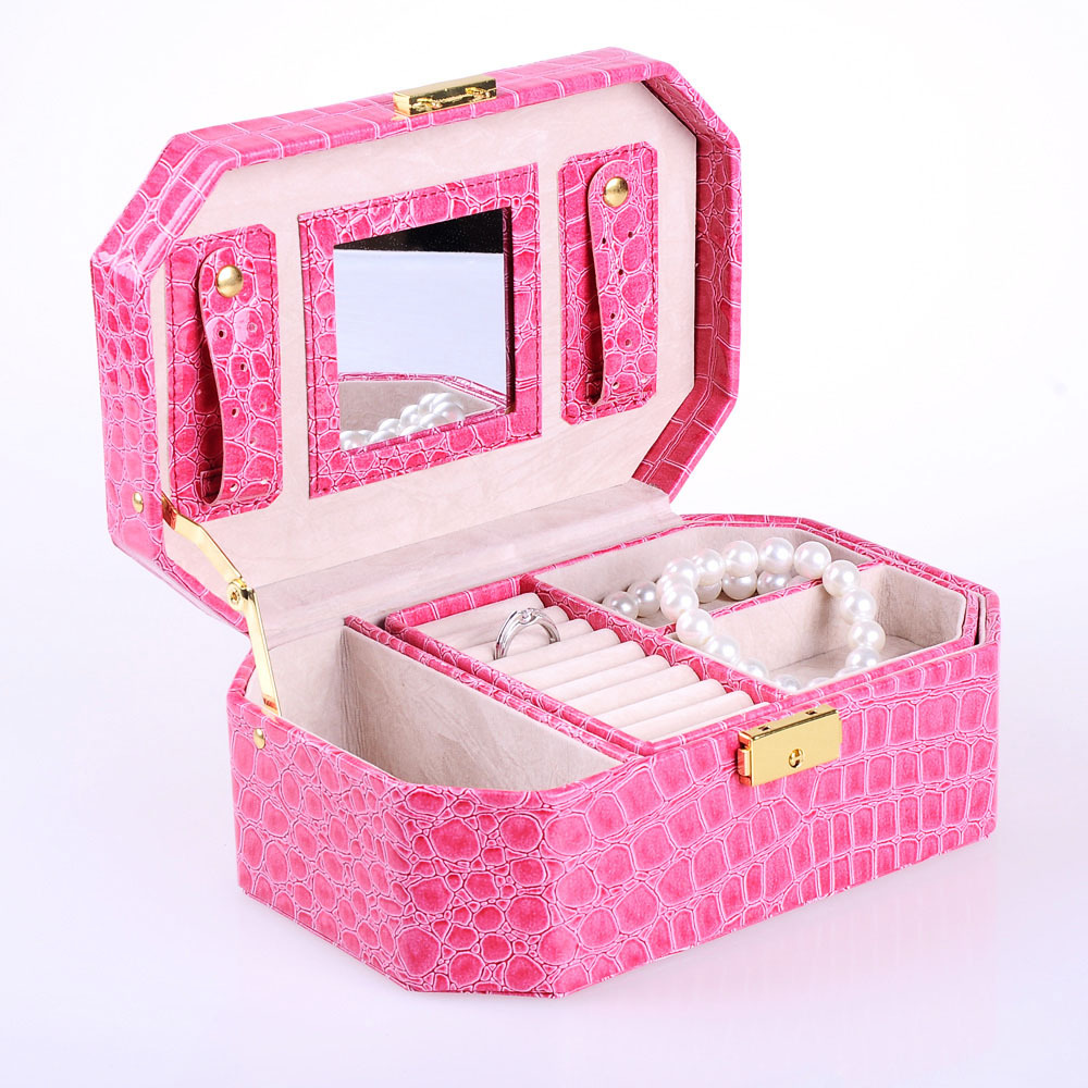 Ya concept of european princess refined aesthetic lockable crocodile pattern jewelry box jewelry jewelry storage box 647-59