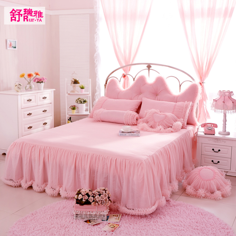 舒瑞ya korean princess lace bed skirt single piece of cotton 1.5m1.8m bed full of cotton bed skirt bedspread protective sleeve
