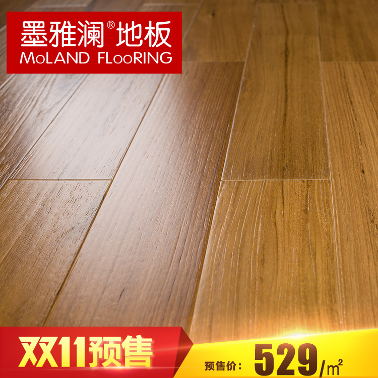 Ya lan ink tens of thousands of pomelo archaized brushed pure burmese teak wood flooring 18mm geothermal 80 years boutique wild