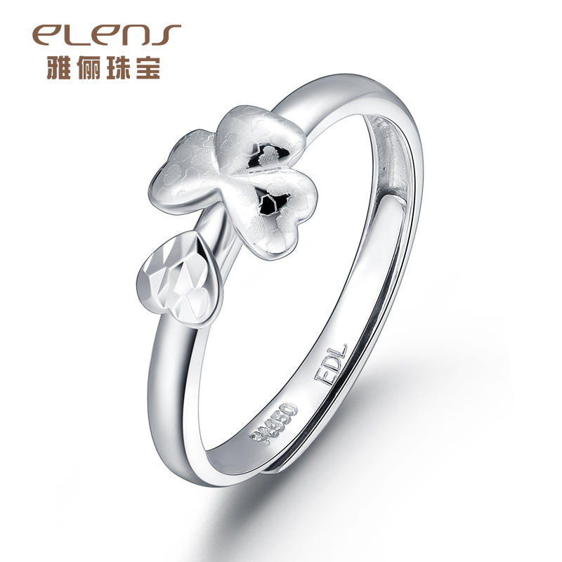 Ya li jewelry pt950 platinum ring platinum ring female models simple fashion ring clover flower ring jewelry
