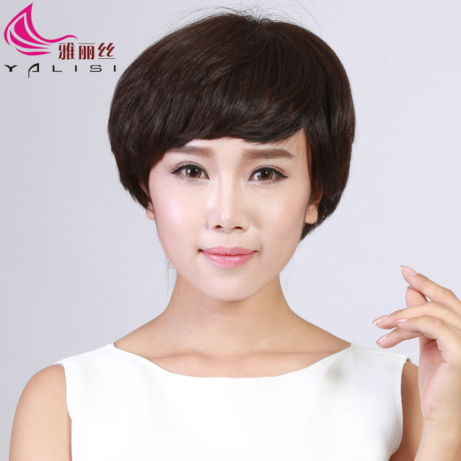 Ya lisi wig female short hair real hair full hand woven needle delivery wig lady with short hair wig wig mom