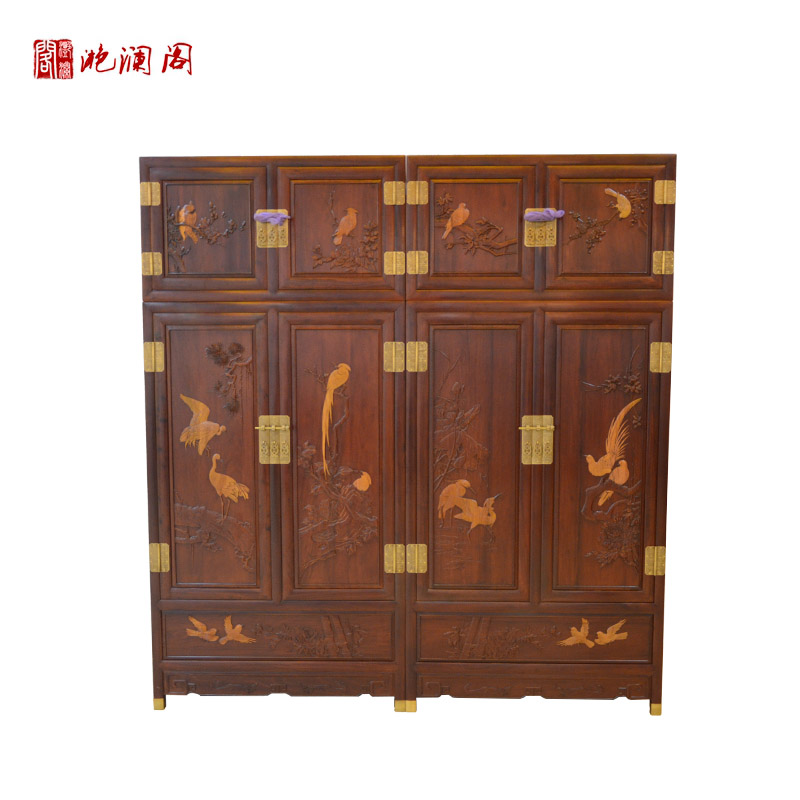 Yan lan club mahogany african rosewood top cabinet chinese wood wardrobe bedroom wardrobe cabinets painted birds and flowers