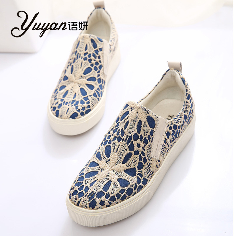 Yan language 2015 spring models to help low lace embroidered shoes flat with flat shoes a pedal lazy shoes tide shoes women shoes carrefour Shoes