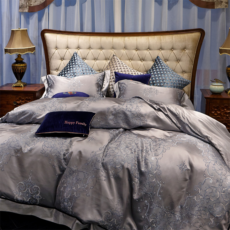 Yan love textile bedroom soft loading thick heavy silk jacquard silk wedding bedding a family of four
