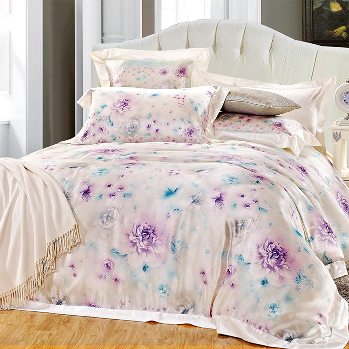 Yan love textile soft fitted bedroom minimalist style silk printed silk bedding a family of four jx-07
