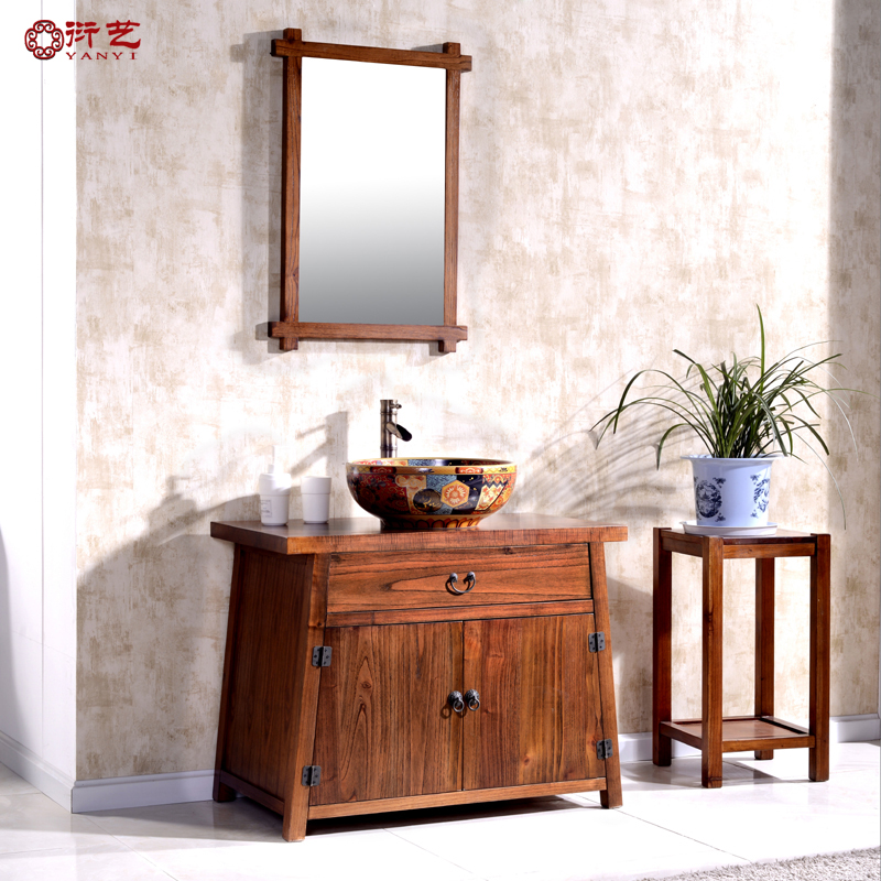 Yan yi group of chinese solid wood antique bathroom cabinet bathroom cabinet modern bathroom vanity cabinet bathroom counter basin vanity washbasin cabinet pre-2015