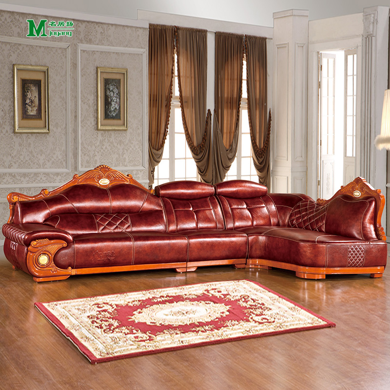 Yang ming ju mahogany sofa corner sofa combination of home office reddish brown european leather sofa wood carved first layer of cow leather
