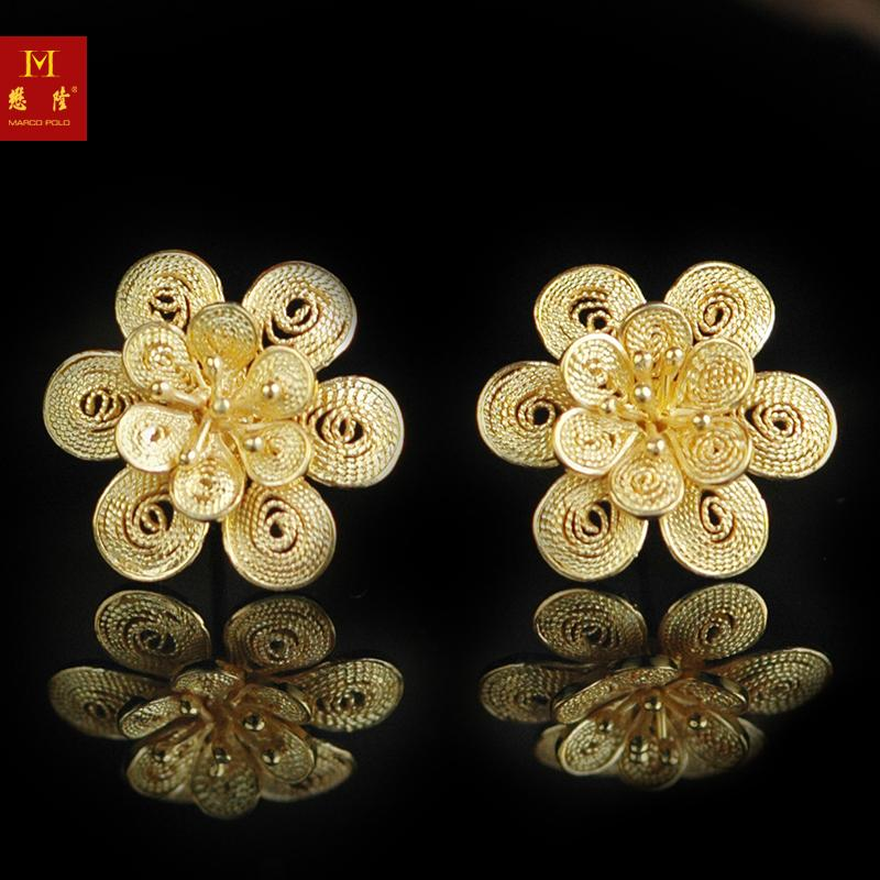 Yanjing eight absolutely stament k gold flower earrings inlaid handmade royal craft exclusive styles â mollen