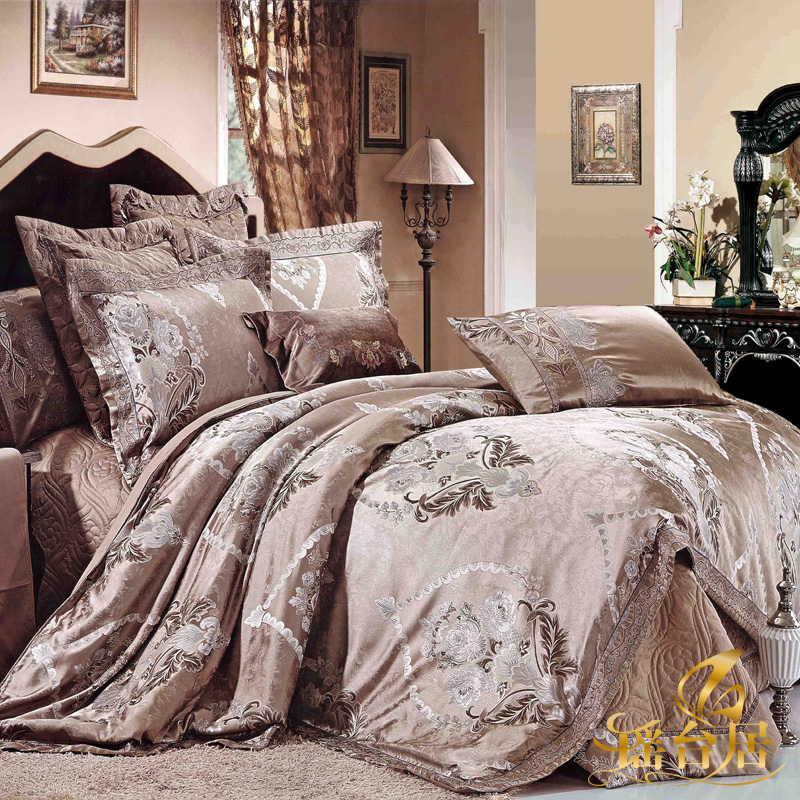Yaotai ranking european luxury model room bedding satin jacquard bedding ten kits 8y-ht