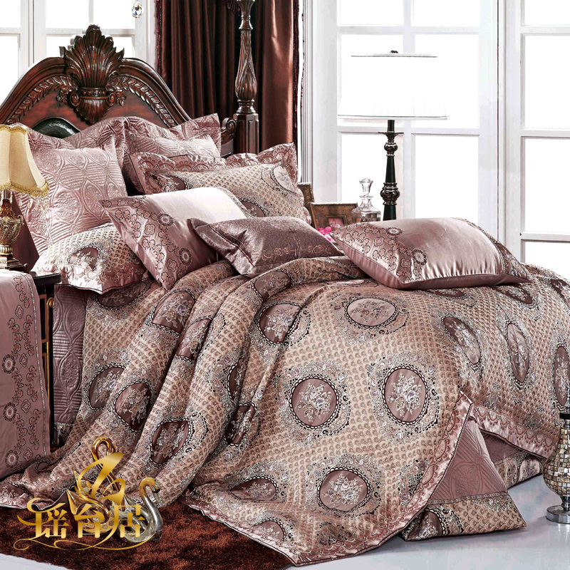 Yaotai ranking european luxury model room bedding satin jacquard bedding ten kits 8Y-M
