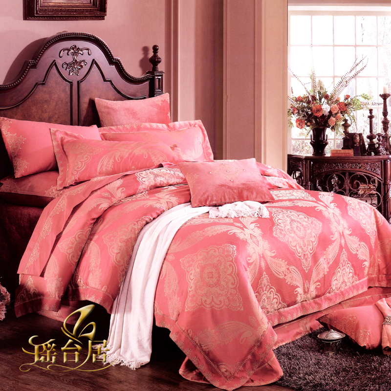 Yaotai ranking european luxury satin jacquard bedding ten sets of pieces of kit wedding celebration bedding suite 1LZ