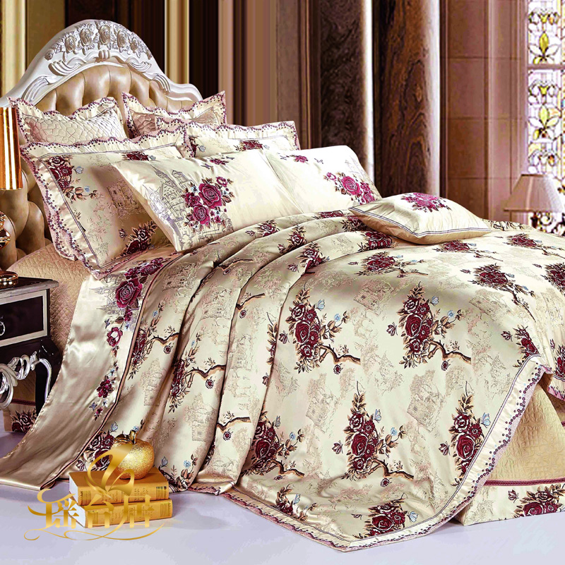 Yaotai ranking european model room luxury bedding satin jacquard bedding ten sets of crib product suite