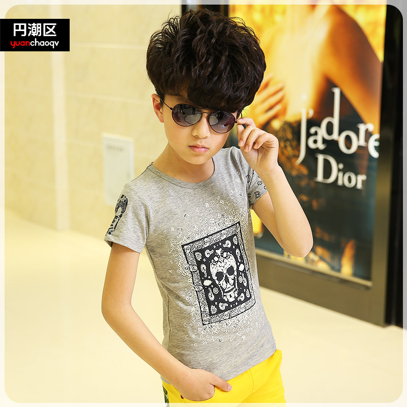 Ycq kids boys summer short sleeve t-shirt zhongshan university children's round neck cartoon bottoming shirt tide male tshirt