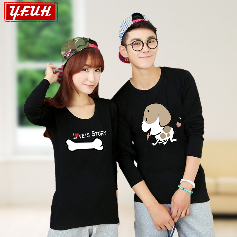 Yfuh 'new sweet and lovely long sleeve t-shirt lovers men and women spring cotton long sleeve lovers dog bones