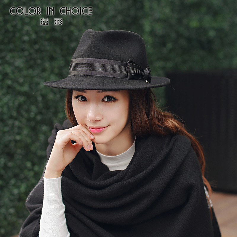 eb75278d38f Get Quotations · Yi cai england autumn and winter woolen hat wide brimmed black  hat jazz hat female korean