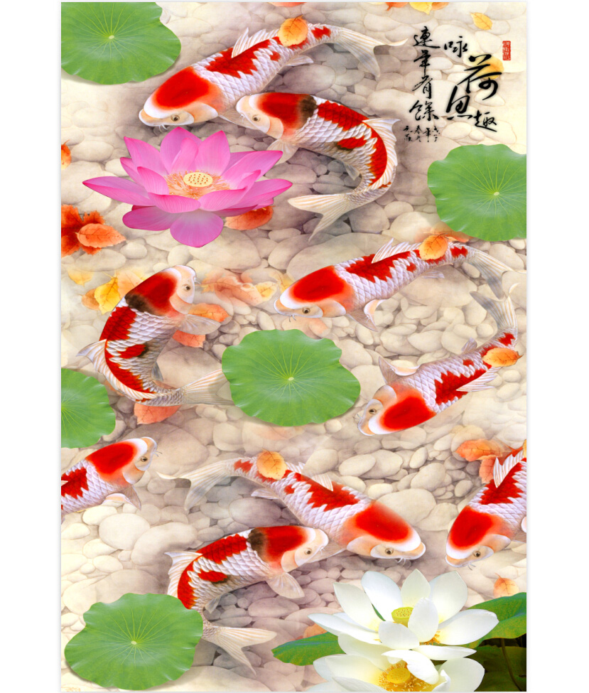 [Yi chen] 1000 wooden jigsaw puzzle of 1500 ethnic chinese painting style living room paintings nine fish figure lotus pond