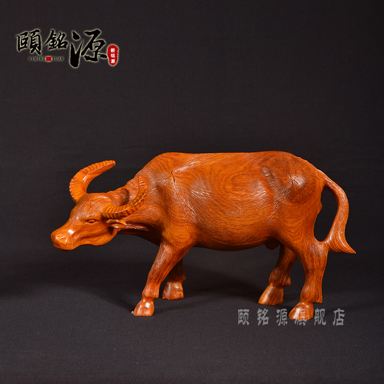 Yi ming yuan cow buffalo african pear wood mahogany wood ornaments wood carving crafts twelve zodiac