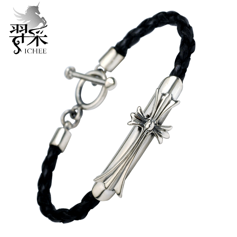 Yi mining men thai silver bracelet jewelry european and american fashion personality influx of people cross leather bracelet to send boys