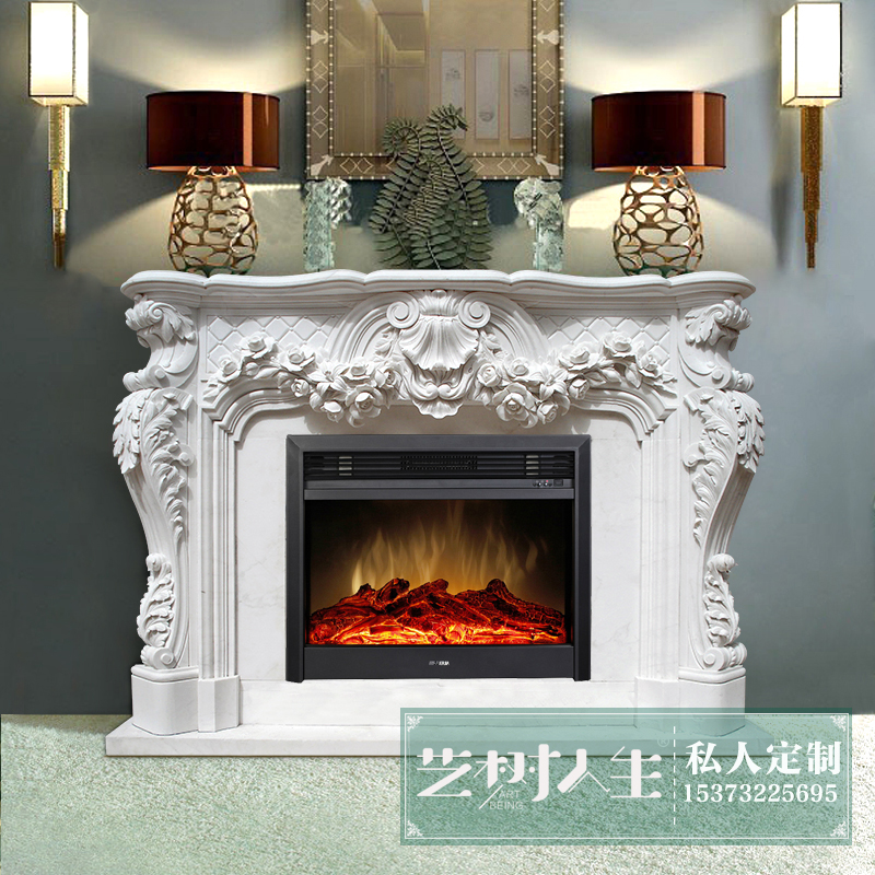 [Yi tree of life] fangshan white marble rich flowers carved natural marble fireplace mantel shelf can be customized