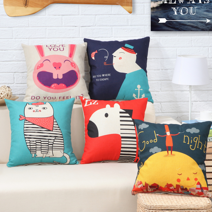 Yi xi sleep decorated loading recommend new waist linen pillow cover cushion pad containing core cushion pillow personalized cartoon car