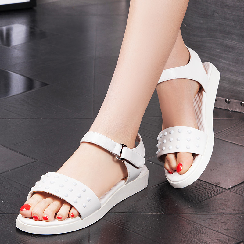 28e3908e1fc497 Get Quotations · Yi ya sandals women sandals summer new fashion personality  rivet sandals peas comfortable flat sandals women