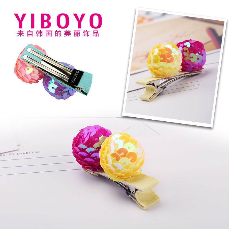 Yiboyo korea imported children's hair accessories sequined ball sweet and cute girls side clip hairpin side clip