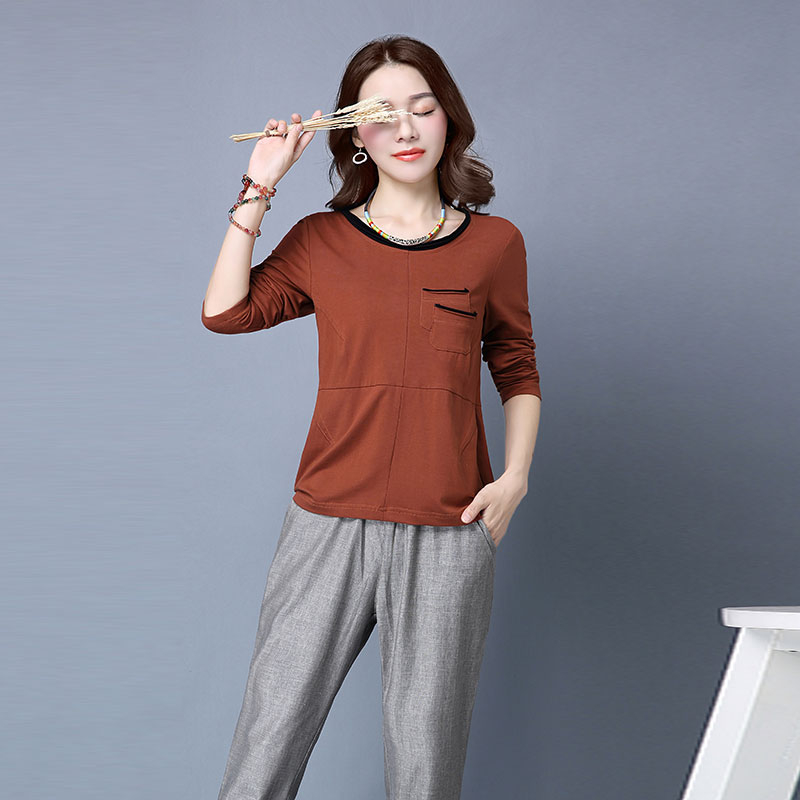 Yin plus 2016 hitz korean slim large size women long sleeve cotton t-shirt casual trousers piece