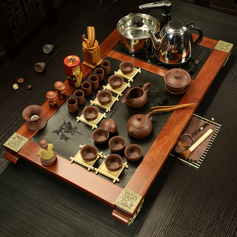 Ying xin rosewood black stone binglie yixing ceramic tea set four cooker wood tea tray