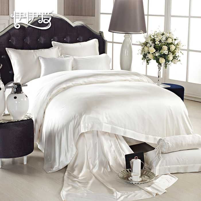 Yiyi love silk denim suite suite solid heavy silk bedding silk summer and autumn family of four